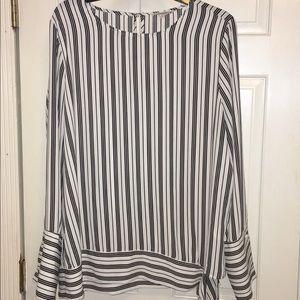 Pleione Black and white striped top